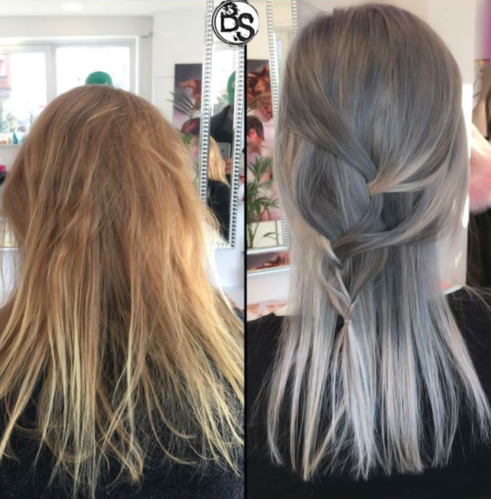 Färben silbergraue haare Haare mit